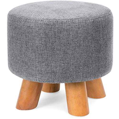 Best Choice Products Upholstered Padded Pouf Ottoman Footrest Stool