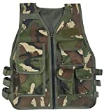 JOKHOO Kids Army Camouflage Outdoor Combat Vest (Green Camouflage,8-14 Year)