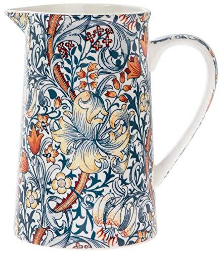 The Leonardo Collection William Morris Krug aus feinem Porzellan mit goldenem Lilien-Muster