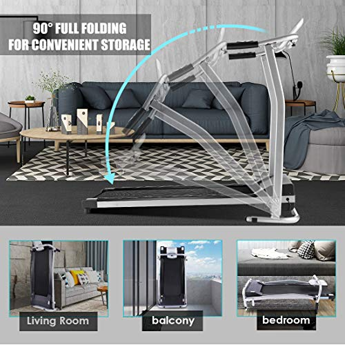 Electric Treadmill, Folding Treadmills for Small Spaces with LCD Monitor, Running Walking Jogging Exercise Compact Exercise Treadmill, Running Machine Equipment for Home Gym Office Use