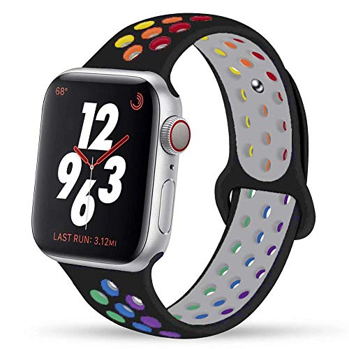Solo Loop para Apple Watch Band 44mm 40mm 42mm 38mm Silicona banda Pride Edition pulsera para iwatch 1 2 3 4 5 6 SE (42 44mm ML, negro orgullo)