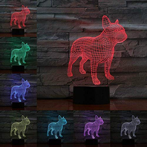 Lámpara de ilusión 3D Luz de noche LED Bombilla de bulldog francés Flash multicolor Batería de lava fundida Control remoto táctil Lámpara de mesa de señor Los mejores regalos de vacaciones de cum