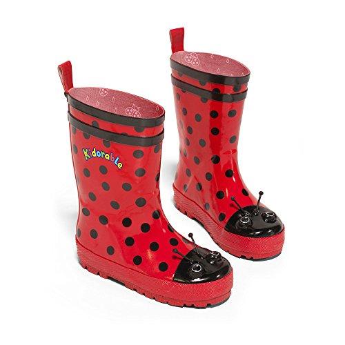 Kidorable Girl's Ladybug Rain Boots, Red, 11 M US Little Kid