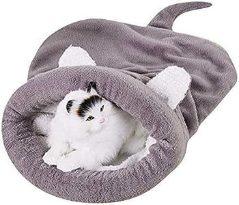GJJSZ Saco de Dormir para Gatos Fleece Lavable Suave Autocalentamiento A Prueba de Viento Saco Acolchado Manta Estera para Gatos Cachorro (Color:Café,Tamaño:65 * 55 cm)