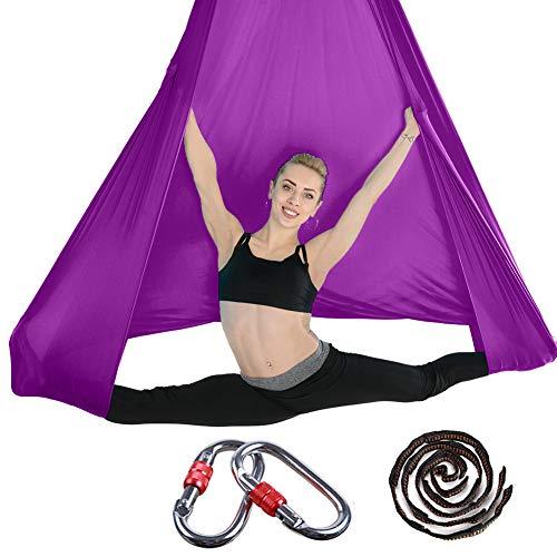 Set di altalena da yoga aerea per yoga aereo Fly Yoga Kit con accessori di montaggio, altalena aerea per yoga anti-gravità, tela da yoga volante, per interni ed esterni