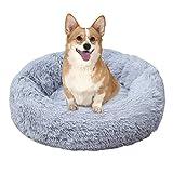 Brthspob Cama Perros Redonda cojín Gatos sofá para Perros Donut Camas de Gatos Perros de Donut con Parte Inferior Antideslizante, Cómodo Suave y Cálida Cama, 80cm, Gris Claro
