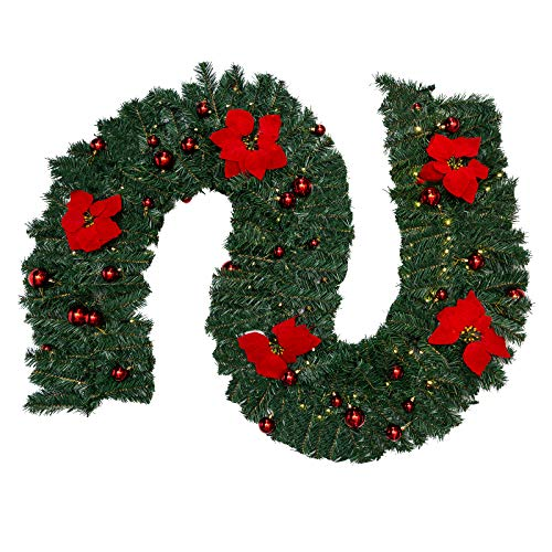 Hengu Christmas Garland 9ft / 2.7m with LED Fairy Lights & Decorated Balls+ Flowers, Artificial Xmas Garland Festive Wreaths Vine Rattan for Home Garden Stairs Fireplaces Christmas Tree Decoration