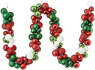 Vita Domi 5' Tinsel and Ball Garland Assorted Ornament Balls (Greens, Reds and Whites)