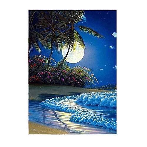 5D DIY diamante pintura animal gato círculo completo diamantes de imitación bordado playa paisaje mosaico imagen decoración del hogar A15 40x50cm