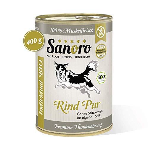 Sanoro Bio-Rind pur 100% Muskelfleischanteil, salzfrei - Premium-Hundefutter in Bio-Qualität - eine Dose mit 400 g Inhalt - singleprotein