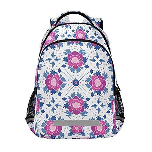 Moradas Floral Mochilas Estudiante Mochila Bookbag para Niños Niñas Casual Bag