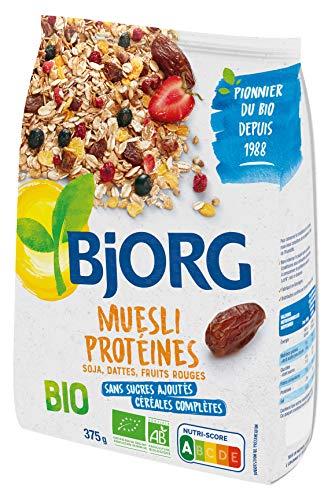 Bjorg Muesli Protéines Soja Dattes et Fruits Rouges Bio - Riche en Protéines et en céréales complètes - 375 g