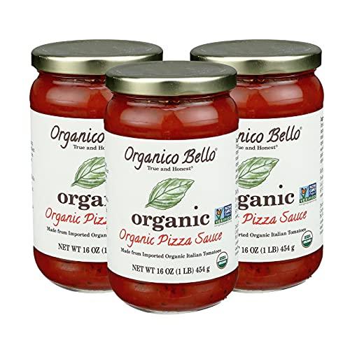 Organico Bello - Organic Pizza & Pasta Sauce - 16 oz (Pack of 3) - Certified USDA Organic, Non GMO, Gluten Free