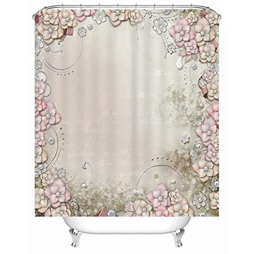 KnSam Duschvorhang, Buchstaben Umgeben Blumen Badezimmer Vorhang Polyester Duschvorhänge Waschbar Badezimmer Deko Duschvorhänge 71X71Inch