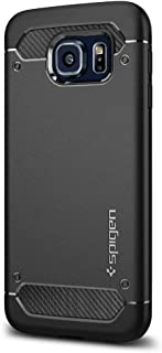 Spigen Rugged Armor Galaxy S6 Case with Resilient Shock Absorption and Carbon Fiber Design for Galaxy S6 2015 - Black (Renewed)