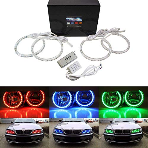 iJDMTOY v2. RGB Multi-Color 96-LED Angel Eye Halo Rings w/Lens Covers and Wireless Remote Control Compatible With BMW E36 E46 E38 E39 3 5 7 Series