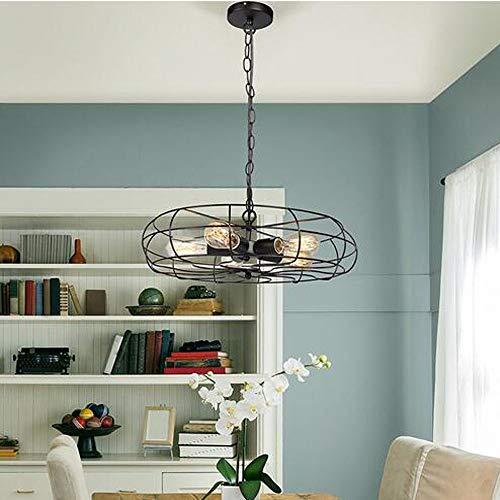 BDwantan Lámpara de techo con forma de ventilador de estilo industrial, de hierro forjado, color negro