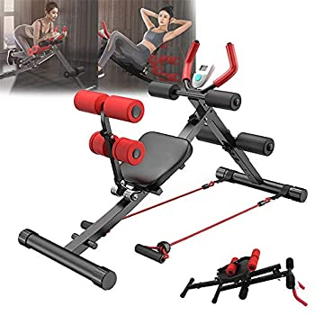 Qazqa 2-in-1 Foldable Ab Machine Sit Up Benches Machine for Home Gym Fitness Workout Adjustable Abdominal Waist Cruncher Core Leg Thighs Buttocks Shaper Trainer Strength Training Equipment