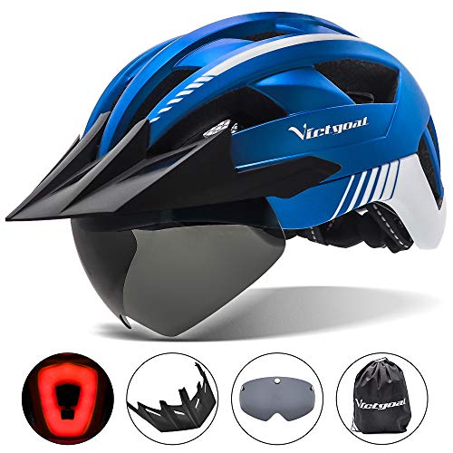 VICTGOAL Bike Helmet with USB Rechargeable Rear Light Detachable Magnetic Goggles Removable Sun Visor Mountain & Road Bicycle Helmets for Men Women Adult Cycling Helmets (Metal Blue)