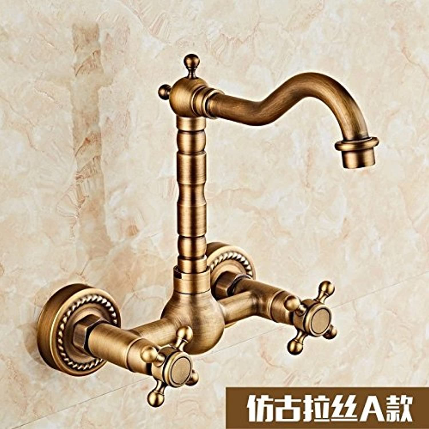 Gyps Faucet Basin Mixer Tap Waterfall Faucet Antique Bathroom Mixer Bar Mixer Shower Set Tap antique bathroom faucet Wall mounted faucets double-double-hole redating hot and cold High of 24CMB,Modern