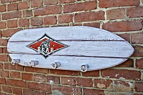 Perchero Vintage surf-board Bear de madera maciza