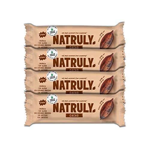 NATRULY Organic Energy Bars, No Added Sugar, 100% Natural and Organic, Gluten-Free, Vegan - Cacao, Pack 4x45g