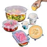 De múltiples fines Cubierta de silicona Alimentos 6PCS universal de silicona Tapas for utensilios de cocina Tazón Pot reutilizable estiramiento tapas de cocina Accesorios para la conservación de alime