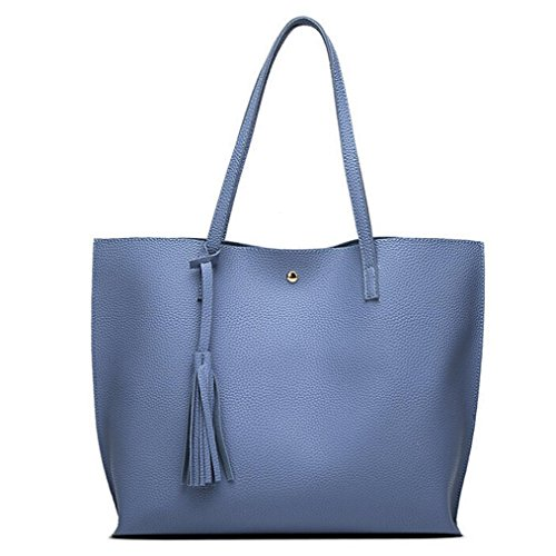 Malloom® Mode Frauen Mädchen Quasten Ledertasche Shopping Handtasche Schulter Tasche Stilvolle und einfache Fransen-Handtasche mit großer Kapazität (blau)