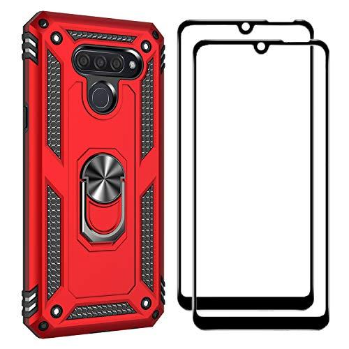 FANFO Funda + [2 Pack] Cristal Vidrio Templado para LG Q60, [Soporte Magnético para Automóvil] Defensa Militar Probada Duro PC y TPU con pie de Apoyo, Rojo
