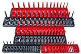 Hansen Global 92000 SAE & Metric, 2-Row Socket Tray Set - 6-Pieces, Red & Grey
