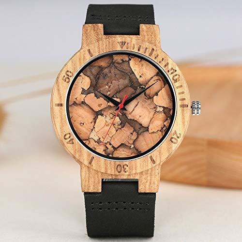 GIPOTIL Reloj para Hombre, único Estilo de Papel Quemado, Relojes de Madera, Moderno, Retro, de Madera de bambú, Reloj Informal para Hombre, RelojMasculino
