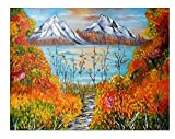 Pintura Al Óleo Snow Mountain River Trees 5D Kit De Pintura De Diamante De Taladro Completo Kits De...