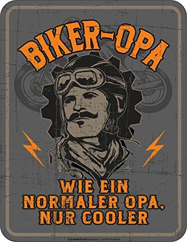 RAHMENLOS Original Blechschild für den Biker-Grossvater: Biker Opa, wie EIN normaler Opa, nur Cooler