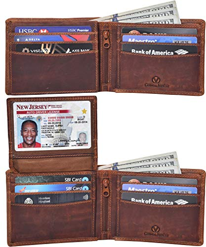 Valenchi-RFID Genuine Leather Bifold Wallet with Flap for Men and Women with multi card slots,2 Note pocket coin pocket & ID window (Cognac Vintage)