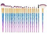 set de brochas para maquillaje 20-Pack Diamond Unicorn Beauty Brush, Rosa + Mango azul