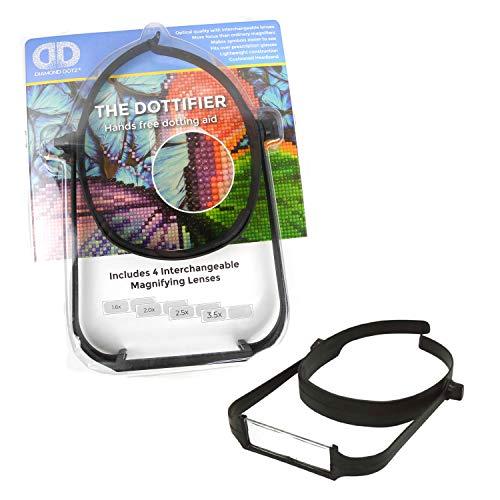 Diamond Dotz Vergrößerungsglas mit 4 austauschbaren Linsen und gepolstertem Kopfband, passt über die Brille, erleichtert das Erkennen der Symbole