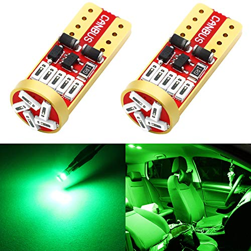 Phinlion 194 LED Green Super Bright Wedge 168 2825 175 T10 15-SMD 4014 Chipsets LED Replacement Bulbs for Car Side Marker Dome Map Reading Courtesy License Plate Lights