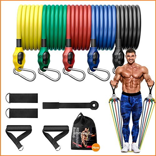 DMYCO 12PCS Resistance Bands Set for Men & Women, 150 Lbs Portable Workout Bands with Door Anchor, Handles, Ankle Straps for Muscle Builder, Fitness Training Exercise Bands