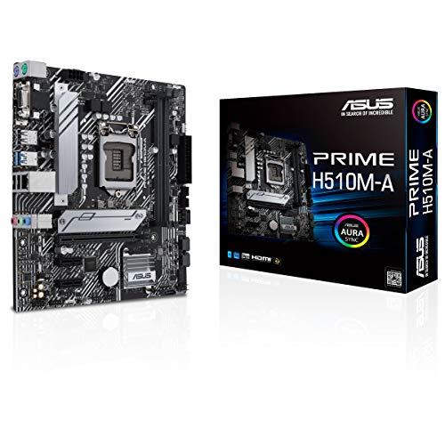 ASUS PRIME H510M-A - Scheda madre Micro-ATX Intel H510 LGA 1200 (PCIe 4.0, slot M.2 da 32 GPS, WiFi 5, 1 GB Ethernet, USB 3.2 Gen, 1 di tipo A, SATA 6 GPS, AURA direzionabile Gen2)