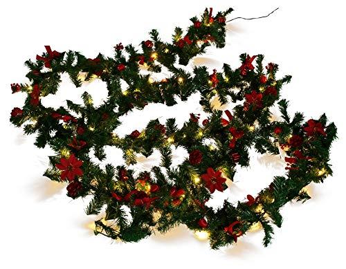 Weihnachtsdeko Tannen- Girlande mit 80 LED und Deko, ROT
