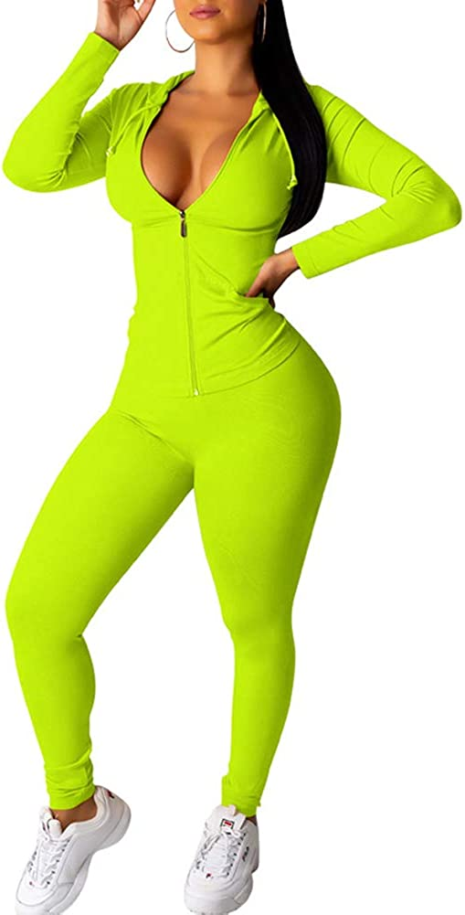 LoVnely Women's Casual Solid 2 Piece Outfits Set Long Sleeve Zipper Drawstring Hoodie Skinny Long Pants Tracksuit
