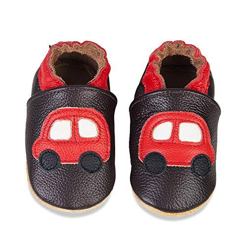 IceUnicorn Weiche Leder Babyschuhe Lauflernschuhe Krabbelschuhe Babyhausschuhe mit Wildledersohlen für Junge Mädchen Kleinkind(Braunes Auto,0-6)