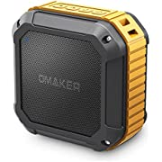 Omaker Waterproof Bluetooth Speaker, Outdoor Wireless Portable Speaker with EQ Modes and TWS, Bluetooth 4.1 with 5W Audio Driver for Outdoor, Beach, Shower & Home (Gold)