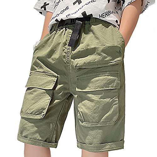 Agoky Pantalones Cortos Niños Chicos Verano Shorts Pantalones Escolar Uniforme Pantalon Algodon Casual Adolescentes Ejercito verde 3-4 años
