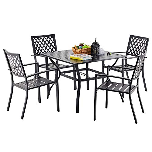 VICLLAX 5 Piece Patio Dining Set, 4 Stackable Patio Dining Chairs with 1 Square Patio Dining Table,Black