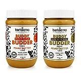 BUDDY BUDDER Bark Bistro Company, Ruff Ruff Raw + Pumpkin Pup, Dog Peanut Butter, Healthy Dog Treat, 100% Natural Dog Peanut Butter - Made in USA (Set of 2/ 16oz Jars)