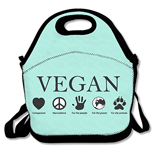 ANIMAL RIGHTS Vegan Vegetarian Lunch Bags Insulated Travel Picnic Lunchbox Tote Handbag With Shoulder Strap For Women Teens Girls Kids Adults