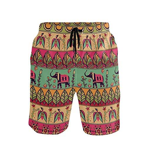 Emoya Herren Strand-Shorts, Bohemian-Stil, Elefanten, Blumen, Blätter, Badehose, verstellbare Taille, schnelltrocknend Gr. S 7-9, mehrfarbig