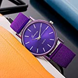 xy Ginebra Femenino Casual Silicone Strap Watch Top Brand Girls Pulsera Reloj Wristwatch Women Relogio Feminino @ F (Color : Purple)