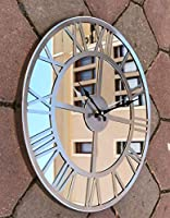 Markakanvas Aynalı Metal Duvar Saati Gri